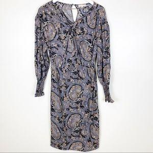 Rebecca Taylor Paisley Smocked Silk Printed Dress